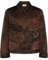 BED j.w. FORD Brown Multi Pocket Silk Cotton Shirt Jacket