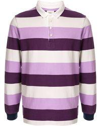 Kent & Curwen Striped Pattern Polo Shirt - Purple