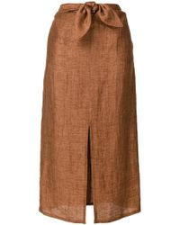 MASSCOB Falda midi con lazo en la cintura - Marrón