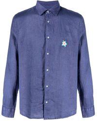 Altea Рубашка С Цветочной Вышивкой - Синий