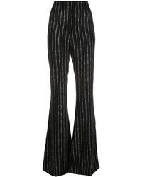 Christian Siriano Pantalon ample à rayures - Noir