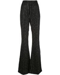 Christian Siriano Striped Wide-leg Trousers - Black