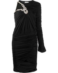 Moschino One-shoulder Embellished Ruched Dress - Black