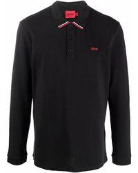 HUGO ロゴ ポロシャツ - ブラック