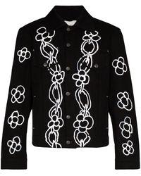 Liam Hodges Alfie Chain Print Denim Jacket - Black