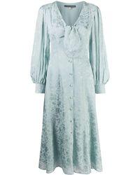 ALEXACHUNG フローラル シャツドレス - ブルー