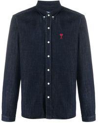 AMI - Джинсовая Рубашка С Нашивкой-логотипом - Lyst