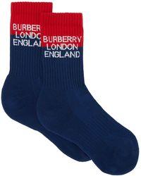 Burberry Носки Вязки Интарсия С Логотипом - Синий