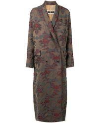 Uma Wang - Двубортное Жаккардовое Пальто С Цветочным Узором - Lyst