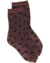 Fendi ドット靴下 - ブラウン