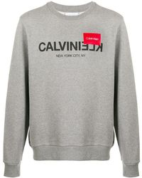 Calvin Klein Sweatshirt mit Logo-Print - Grau