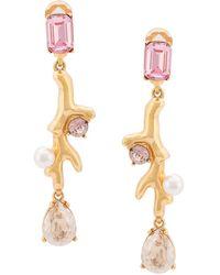 Oscar de la Renta - Drop Crystal Clip-on Earrings - Lyst