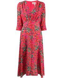 Saloni Платье Eve С Цветочным Принтом - Розовый