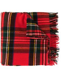 we11done Oversized Plaid Scarf - Red