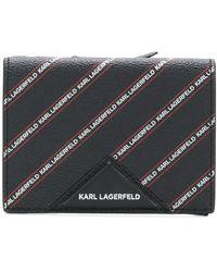 Karl Lagerfeld Gestreepte Logo Middelgrote Portemonnee - Zwart