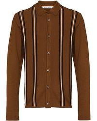 WOOD WOOD Stripe Pattern Button-up Cardigan - Brown
