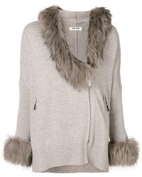 Max & Moi Fur Trim Zipped Cardigan - Multicolor