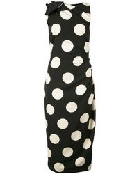 Christian Siriano Polka Dot Print Dress - Black