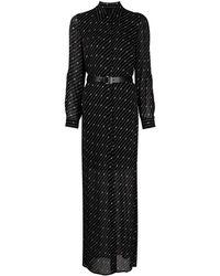 MICHAEL Michael Kors Полупрозрачное Платье-рубашка С Монограммой - Черный