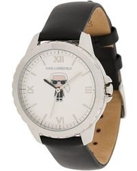 Karl Lagerfeld Karl Ikonik Leather Watch - Black