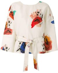 Andrea Marques Printed Wrap Blouse - Multicolor
