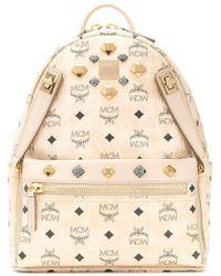 MCM - Logo Printed Studded Backpack - Lyst