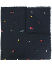 Gucci - Embroidered Scarf - Lyst