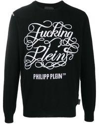 Philipp Plein Джемпер С Круглым Вырезом И Вышивкой - Черный