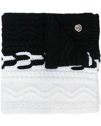 Moncler バイカラー ニット スカーフ - ブラック