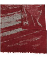 Destin Check Print Frayed Scarf - Red