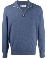 Brunello Cucinelli Short-zip Knitted Jumper - Blue