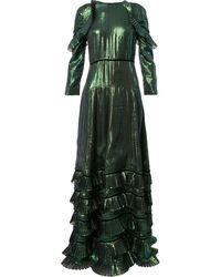 Huishan Zhang Metallic ruffled dress - Vert