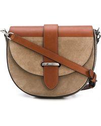 Brunello Cucinelli Two-tone Leather Half Moon Shoulder Bag - Brown