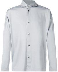de Camisa gris cuello italiano de cuello Camisa 6I7yvYfbg