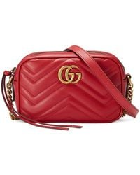 Gucci - GG Marmont Matelasse Mini Bag Hibiscus Red - Lyst