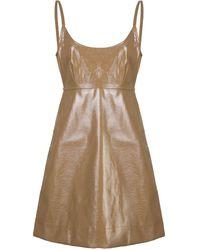Ganni タイディテール レザー ドレス - ブラウン