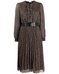 Liu Jo フローラル プリーツドレス - ブラック