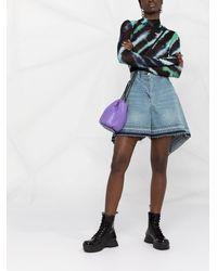 Sacai Draped High-waisted Denim Shorts - Blue