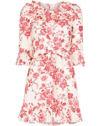 The Vampire's Wife The Cate Floral-print Ruffled Cotton Mini Dress - Red