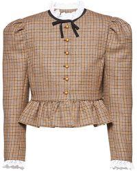 Miu Miu Puff-sleeve Fitted Jacket - Brown