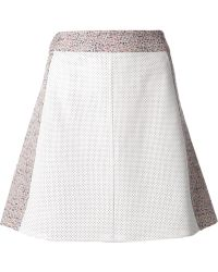 Tess Giberson - Perforated Leather And Jacquard Skirt - Lyst