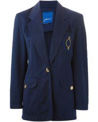 Guy Laroche Embroidered Logo Pocket Blazer - Blue