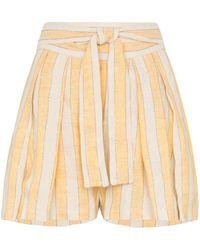 Three Graces London Jola Stripe Linen-blend Shorts - Yellow