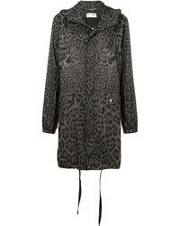 Saint Laurent Leopard Print Hooded Parka - Grey