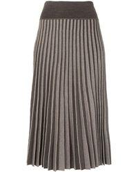 Agnona リブニット スカート - グレー
