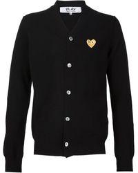 COMME DES GARÇONS PLAY - Gold Heart Wool Cardigan - Lyst