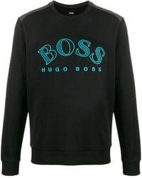 BOSS by Hugo Boss Sweater Met Geborduurd Logo - Zwart