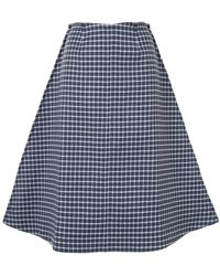JW Anderson Checked A-line Midi Skirt - Blue