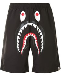 A Bathing Ape Shark Print Bermuda Shorts - Black
