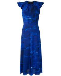 Andrea Marques ラッフルプリント ドレス - ブルー